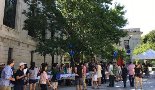 View of the language fair in Beinecke Plaza. Yale offers classes in over 50 languages.