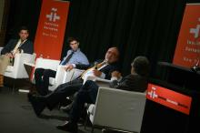 Prof. González Echevarría with Bryce Maxey and Matthew Tanico at Instituto Cervantes