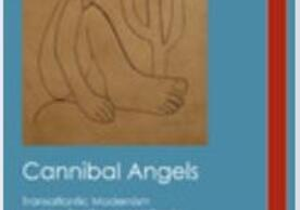"""book cover of David Jackson's latest book, """"Cannibal Angels"""". image shows a line drawing of a cactus and distorted human figure whose legs are larger than the rest of the body. figure is seated."""